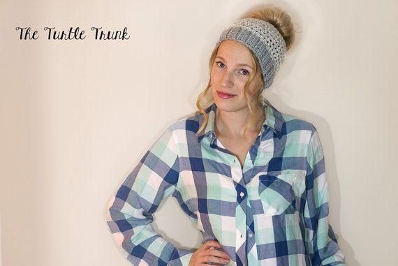Woman's Ponytail Hat Bun Hat Messy Bun Beanie by TheTurtleTrunk
