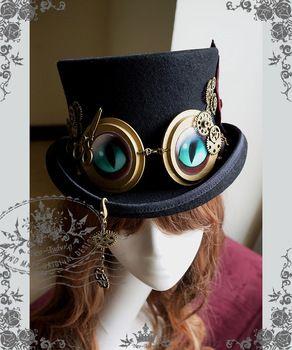 Cheshire Cat engrenagem Steampunk Top chapéu chapéu de feltro