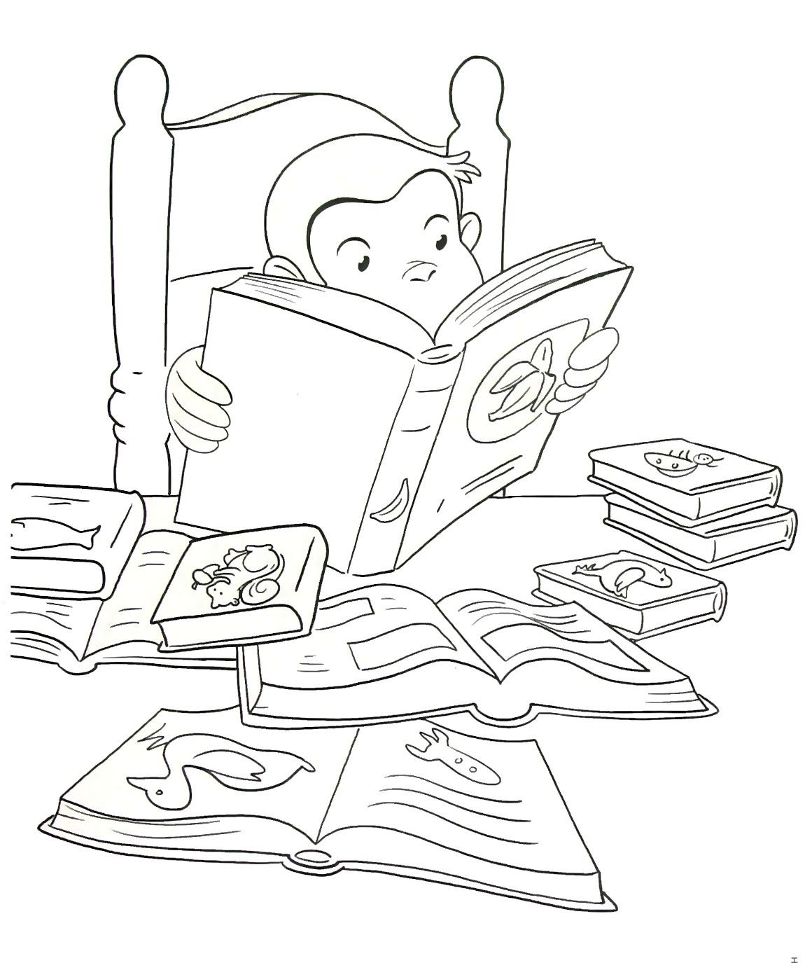 Curious George Reading A Book Coloring Book Page Printable Curious George Coloring Pages Coloring Books Curious George