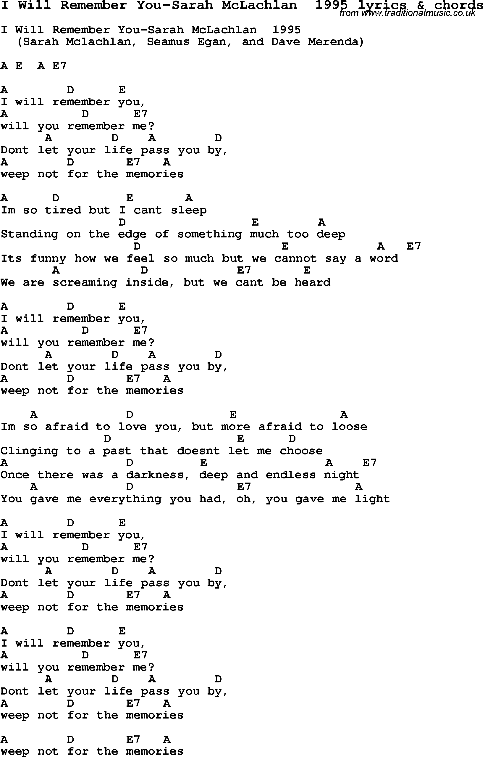you will remember me lyrics