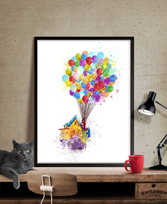 Up Movie Pixar Up Disney Watercolor Art Disney Pixar Up Flying House Nursery Watercolor Art Wall Art P Flower Art Painting Flower Art Watercolor Pineapple