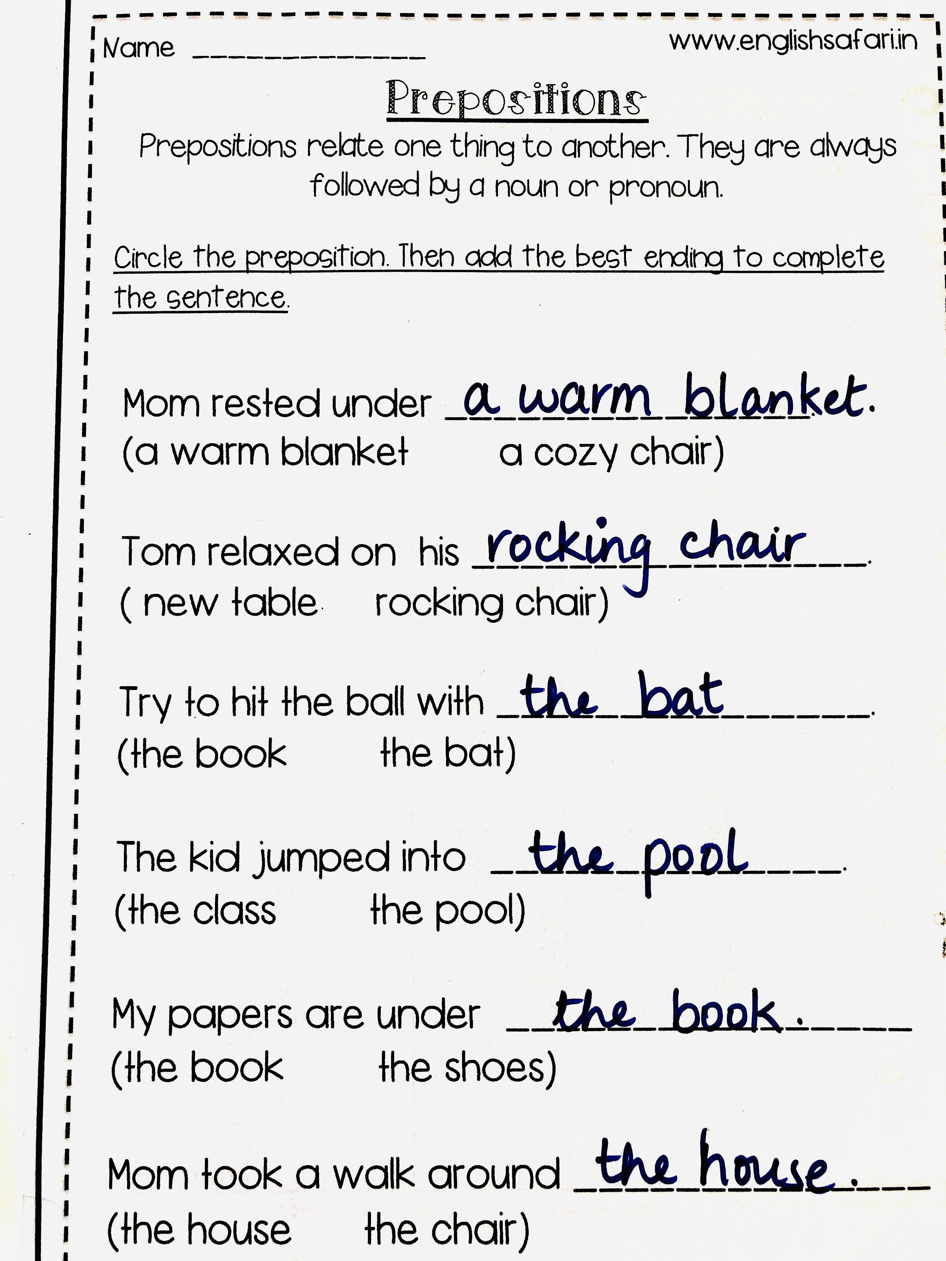 Free Prepositions Worksheet Englishsafari In