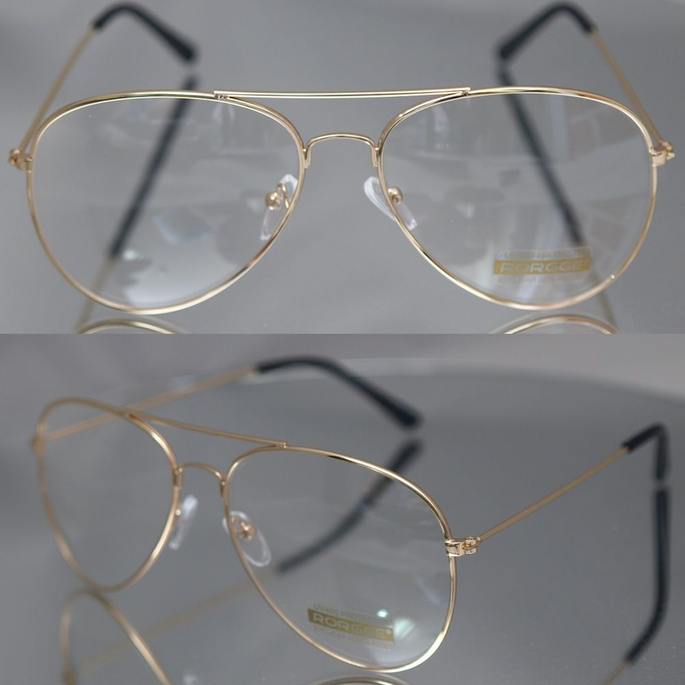 fe561c5686 Aviator driving Designer Glasses Unisex Retro Gold Metal Frame Clear Lens  in Health   Beauty
