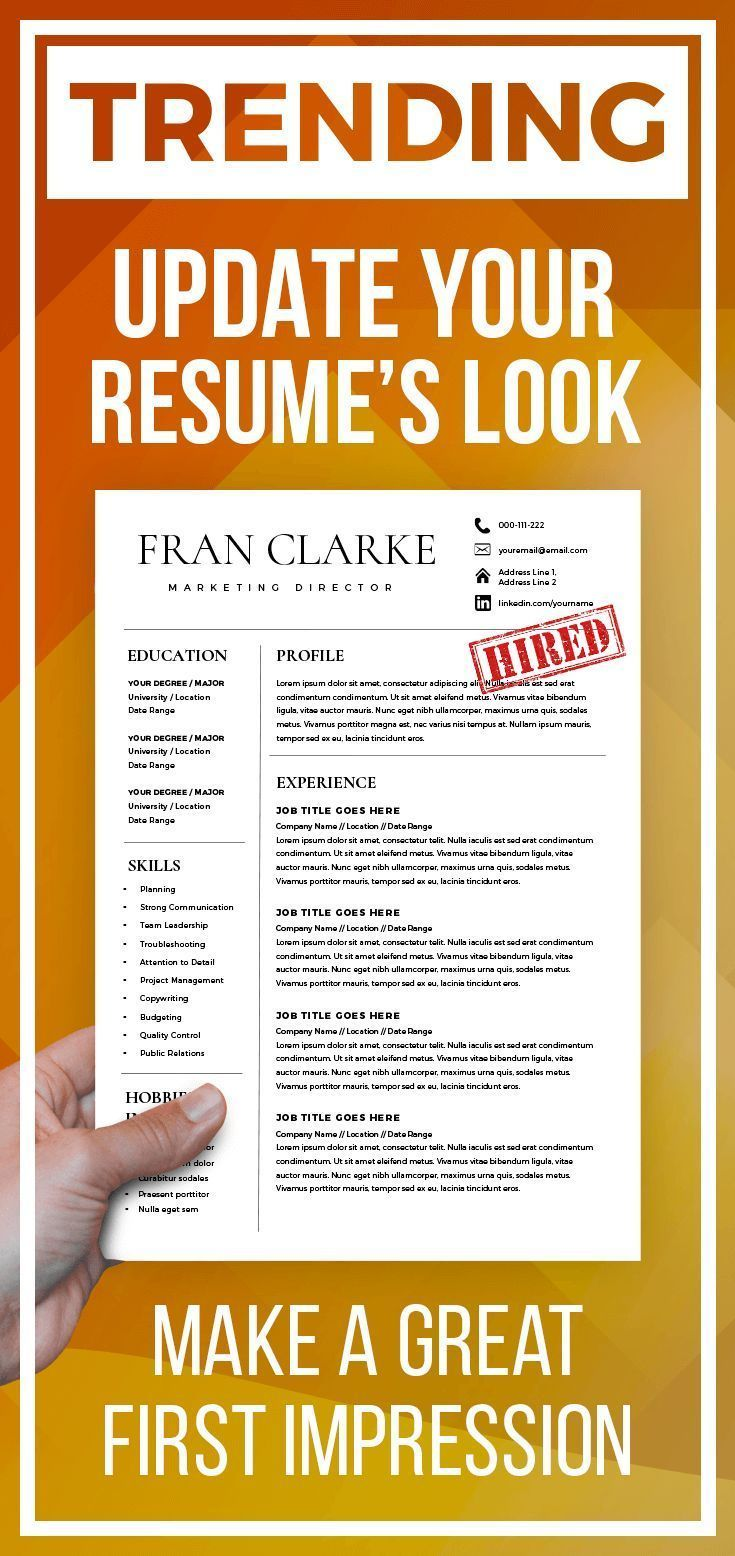 Creative Resume Template for Word, 1 / 2 Page Resume Template and ...