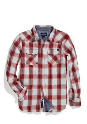Lucky Brand  Snap Button Plaid Woven Boys 4-7