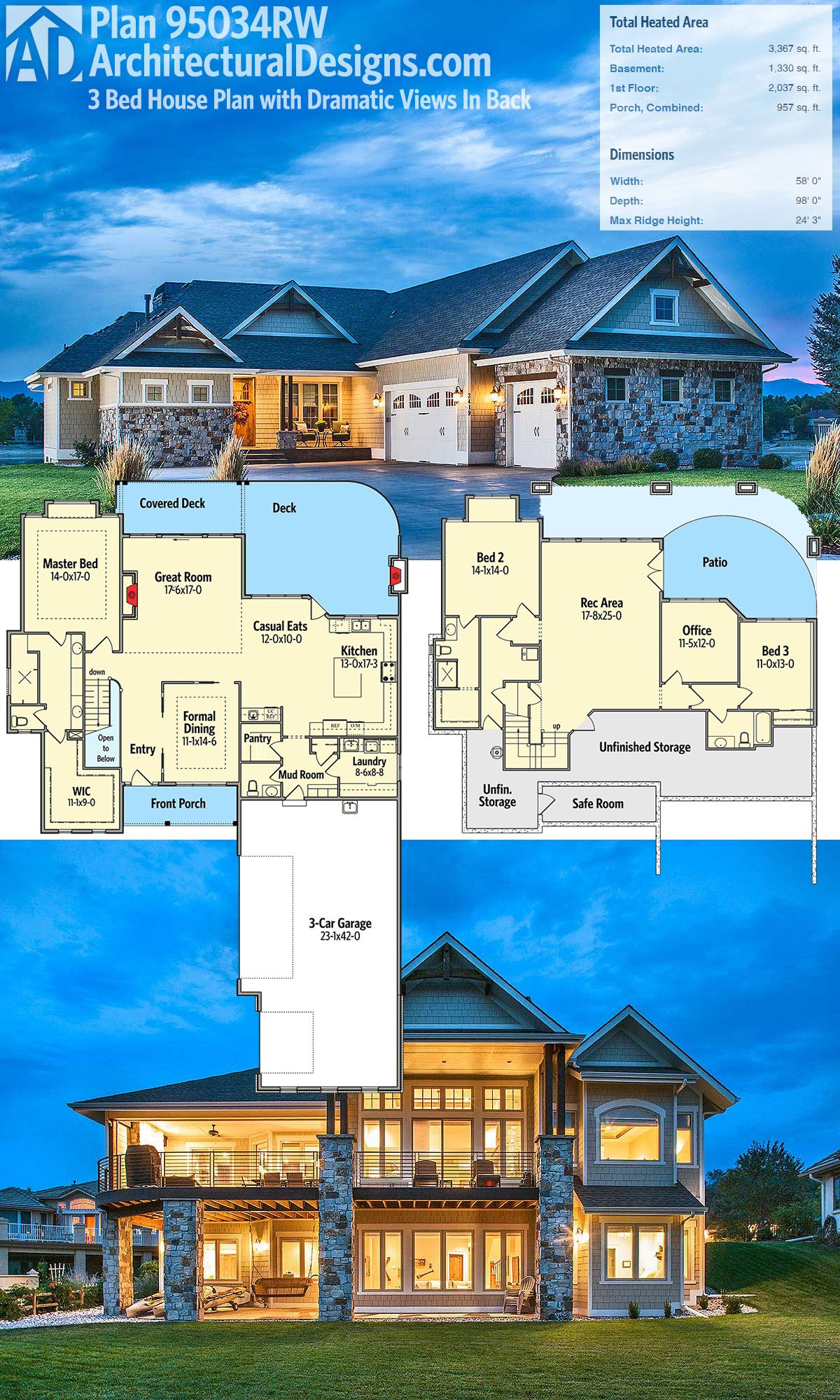 Plan 95034rw Craftsman House Plan With Dramatic Views In Back Craftsman House Plans Architectural Design House Plans Lake House Plans