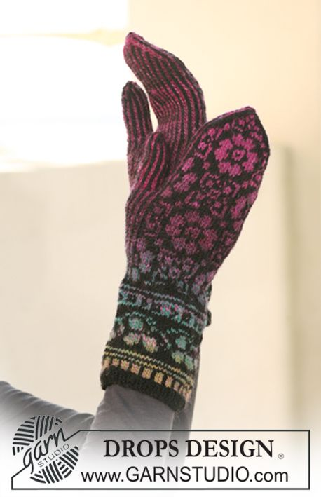 """DROPS mittens with pattern in """"Delight"""" and """"Fabel"""". ~ DROPS Design ..."""