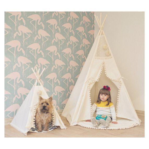 Kids Teepee Pet Teepee Indoor Tents Set For Pet And Kid