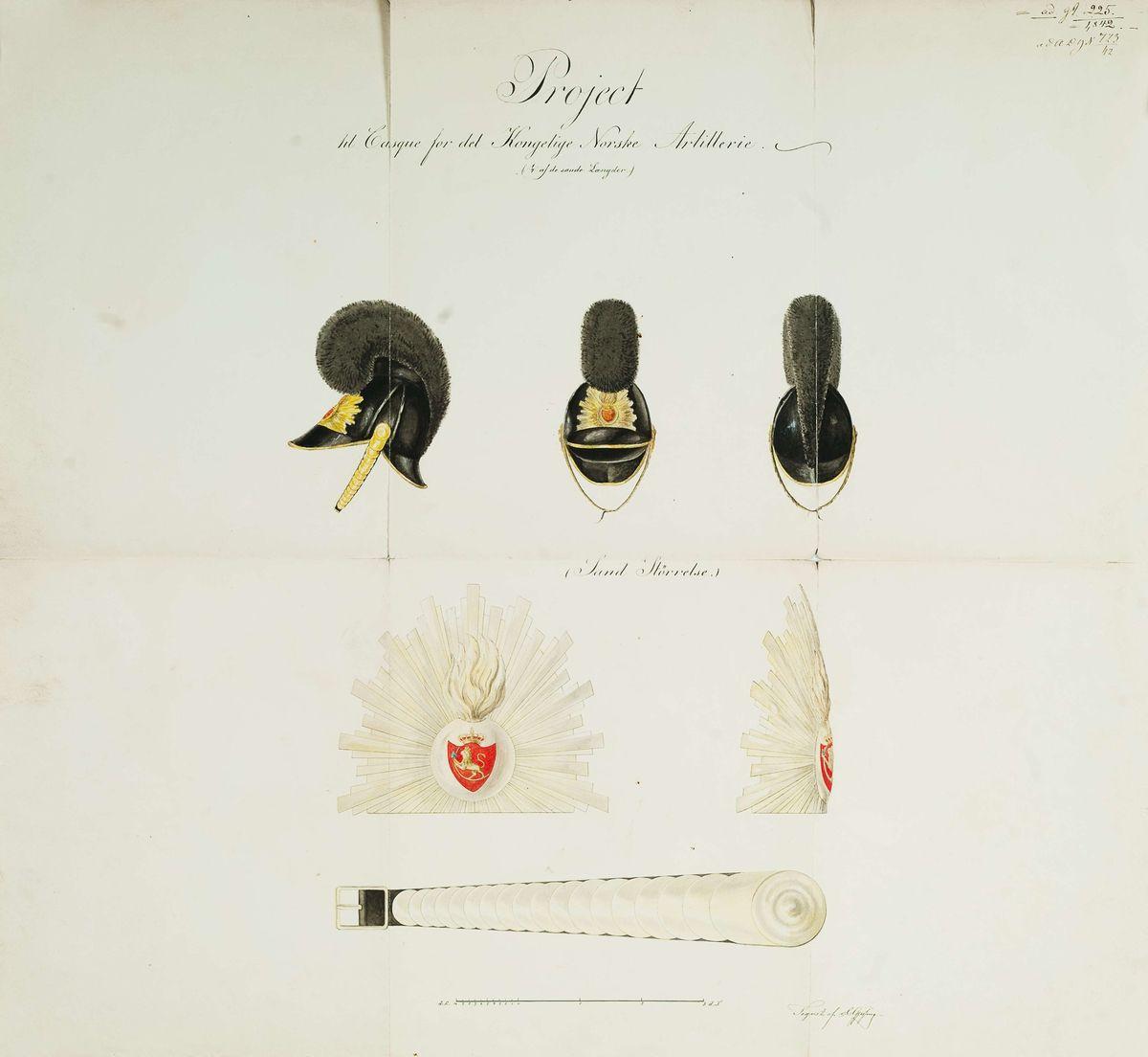 Approbasjonstegning for kaskett, 1842. Tekst: Project til Casque for det Kongelige Norske Artillerie (1/4 af de sande Længder).