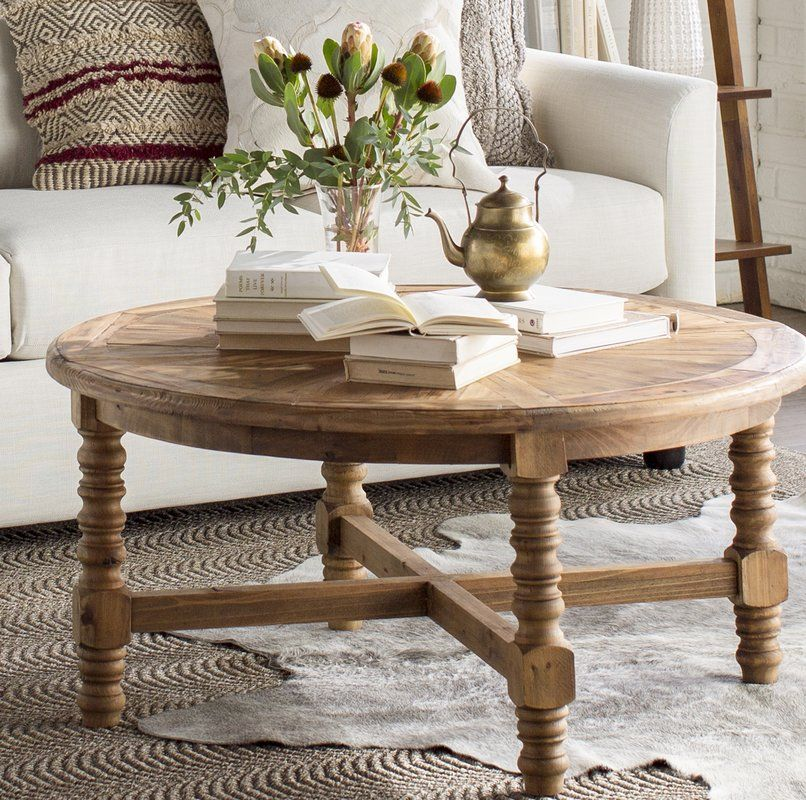 Haylie Wooden Coffee Table Coffee Table Coffee Table Farmhouse Round Wood Coffee Table
