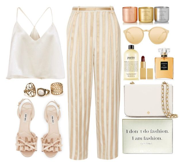 """""""Coco Chanel"""" by anaaborges ❤ liked on Polyvore featuring The Row, Twigs and Moss, Miu Miu, Tory Burch, philosophy, AERIN, Chanel, Linda Farrow and Tom Dixon"""