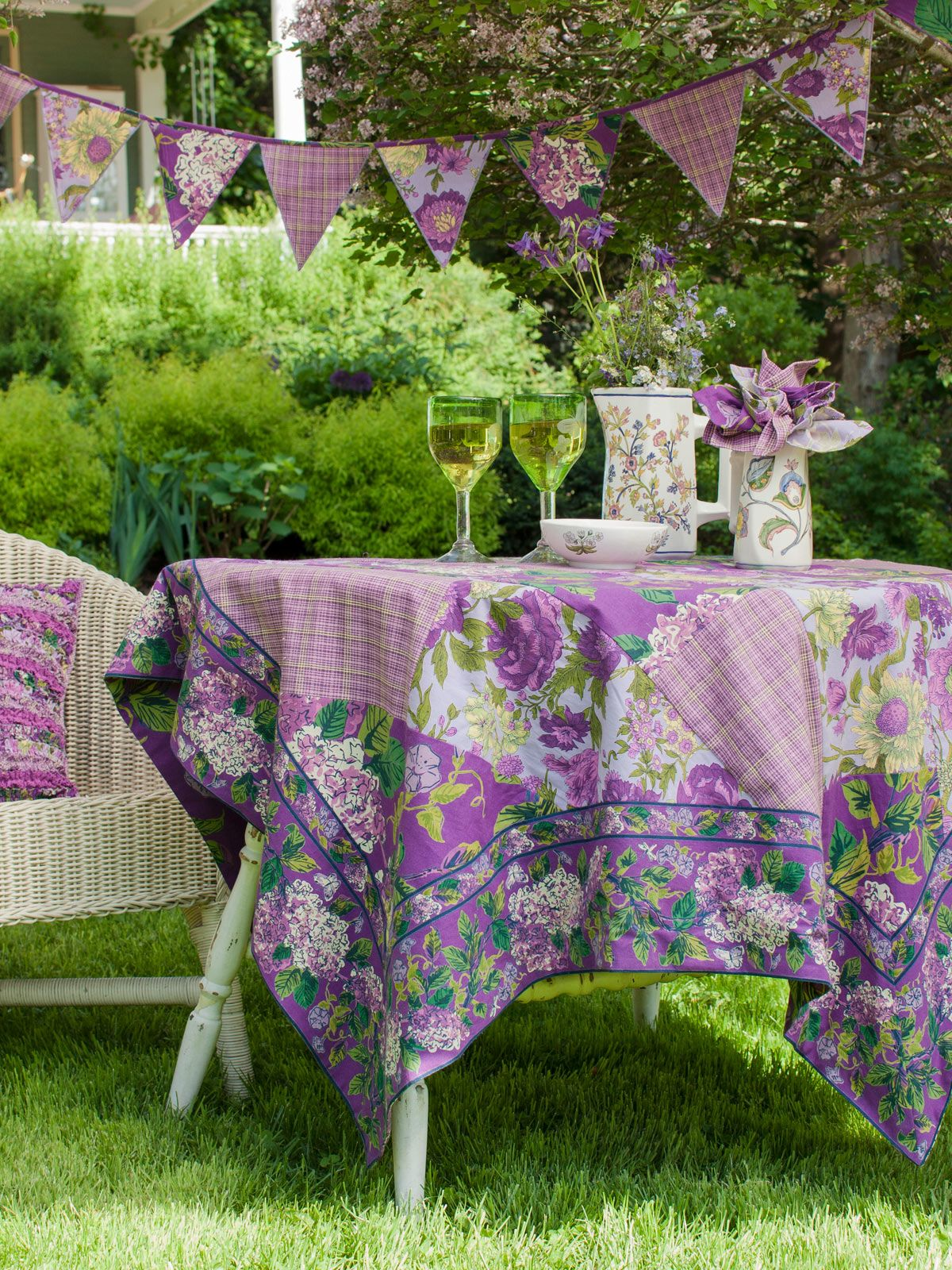 Purple Patchwork Tablecloth  Table Linens  Kitchen