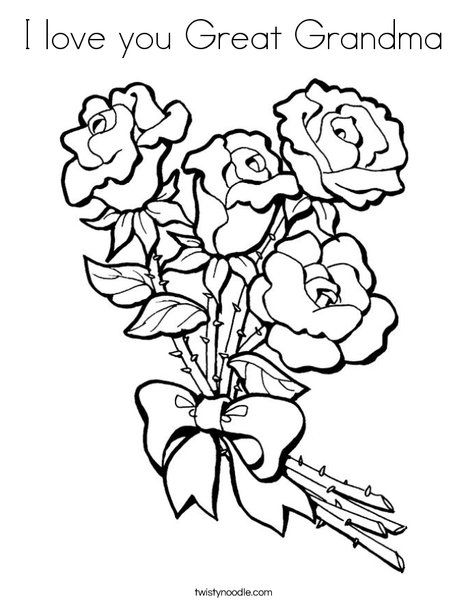 I Love You Great Grandma Coloring Page Twisty Noodle Valentine