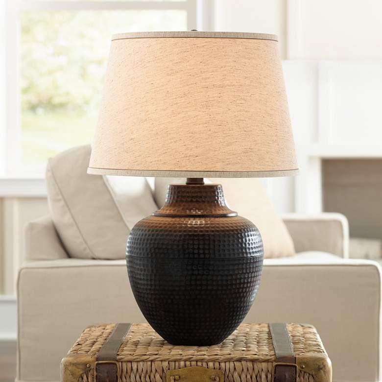 Brighton Hammered Pot Bronze Table Lamp X4785 Lamps Plus In 2021 Rustic Table Lamps Table Lamps Living Room Bronze Table Lamp