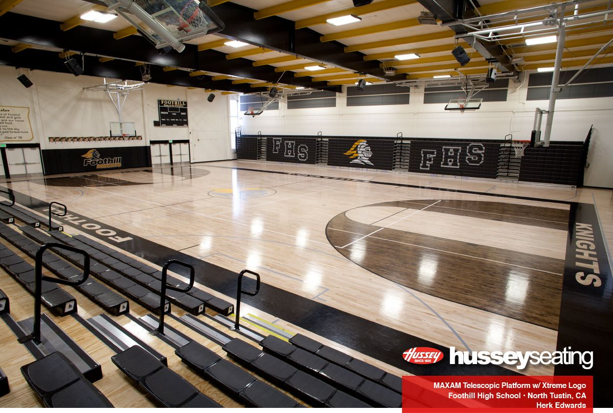 Foothill High School Maxam Telescopic Gym Seating Photos Hussey Seating High School Design School Architecture High School