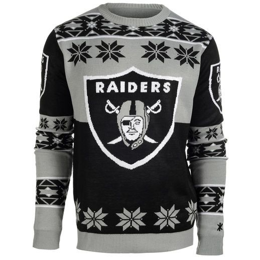 0e023a0a86 Oakland Raiders Black Big Logo Ugly Sweater