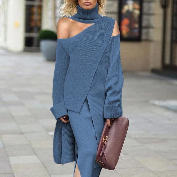 Finalpink Fashion High Collar Off Shoulder Grey Ir