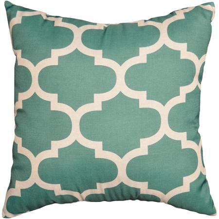 Mainstays Fretwork Decorative Pillow Teal995 at Walmart
