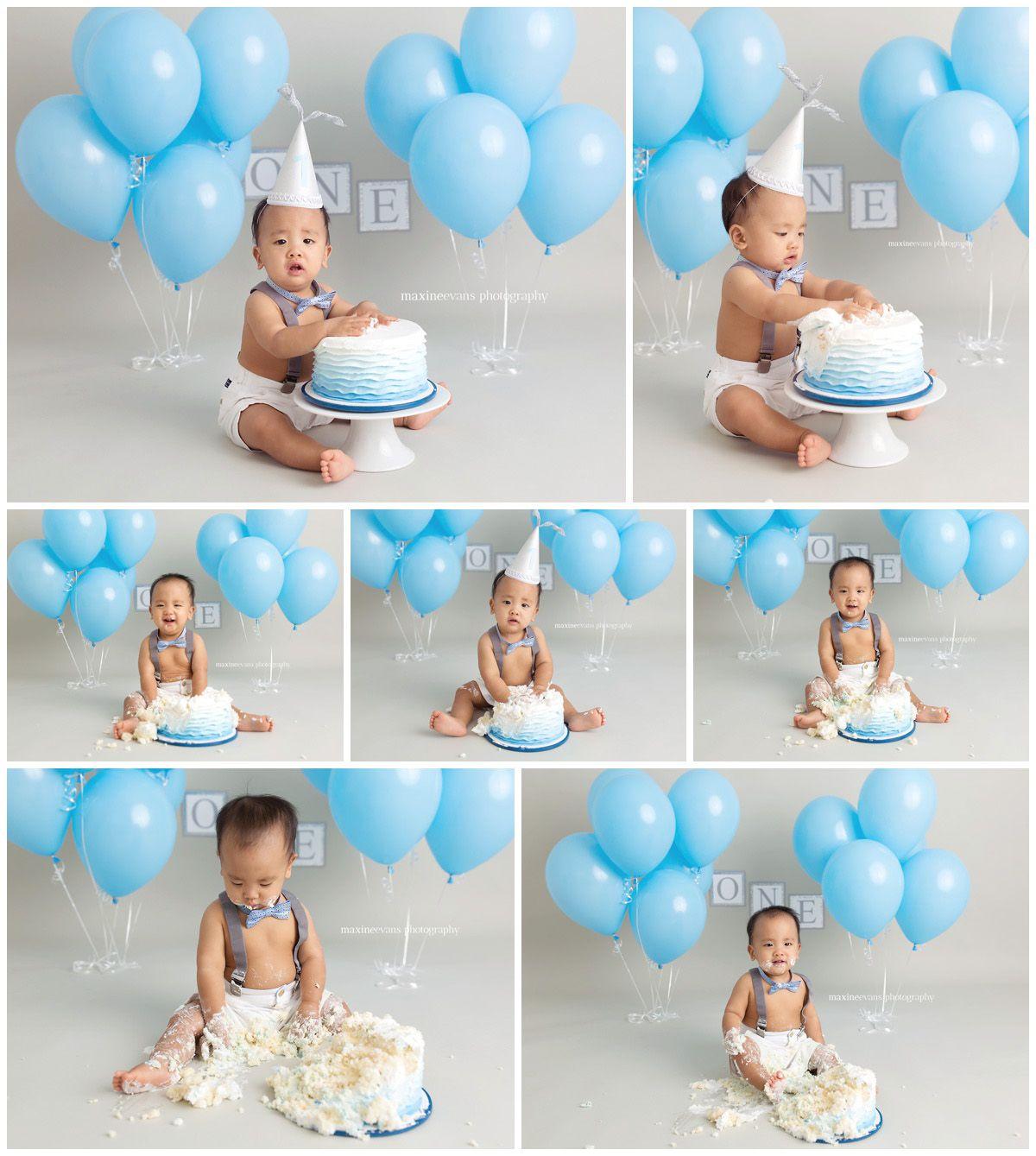 Baby Boy Cake Smash Blue Www Maxineevansphotography Com Los