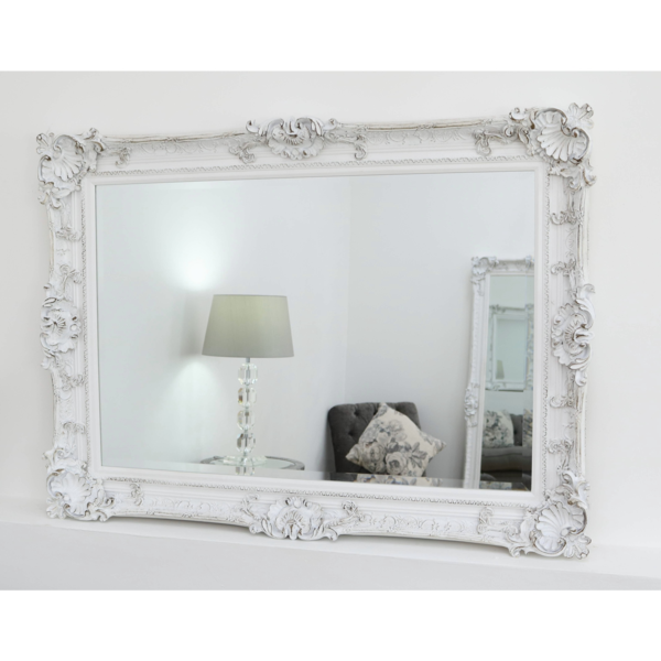 Hampshire White Ornate Rectangular Mirror 44 X 32 112cm X 81cm White Ornate Mirror White Mirror Frame Ornate Mirror