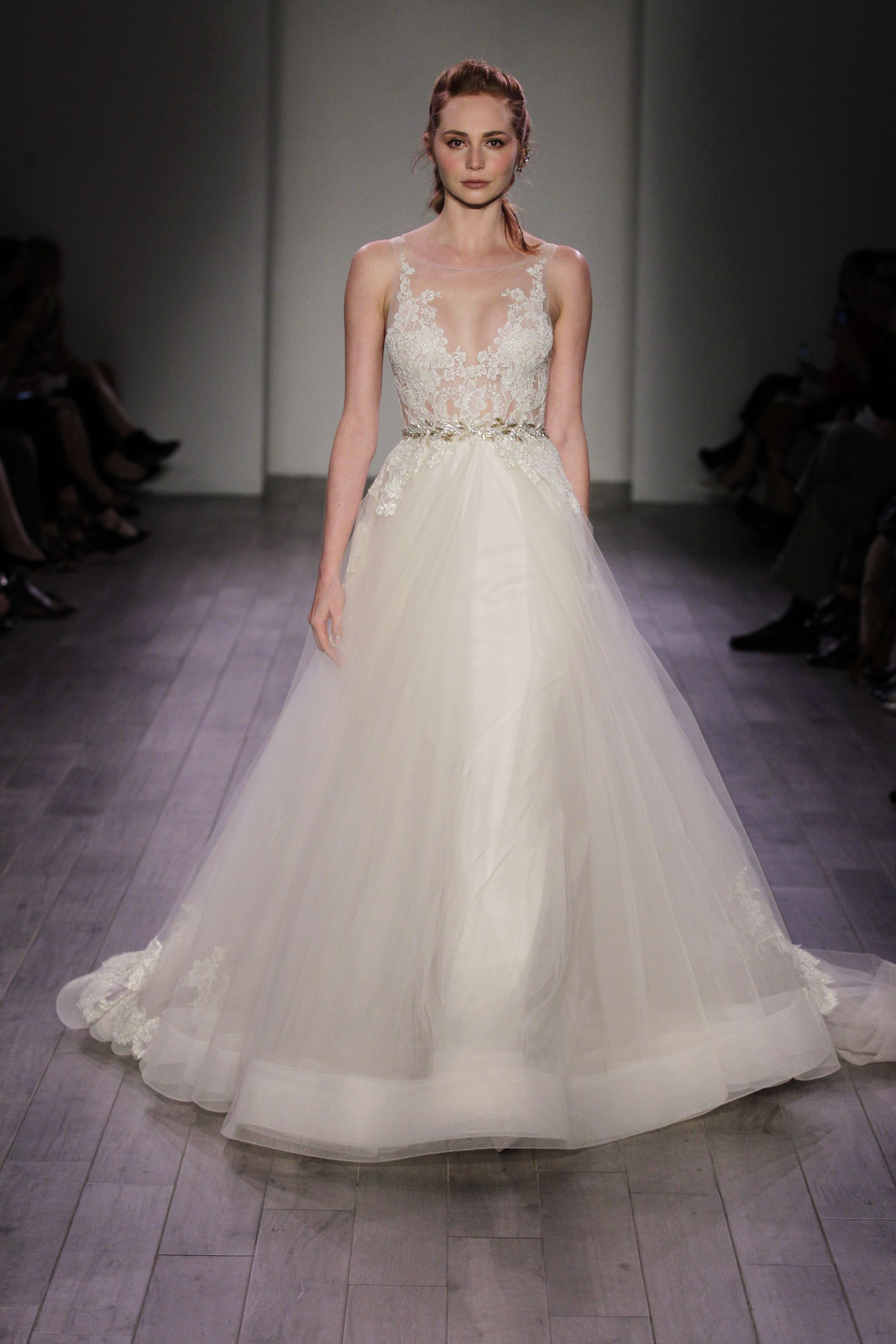 Best in bridal vera wang fall 2016 wedding gowns and wedding gowns champagne tulle bridal ball gown ivorygold alencon lace shear appliqued bodice metallic leaf trim at natural waist circular tulle skirt accented with ombrellifo Image collections