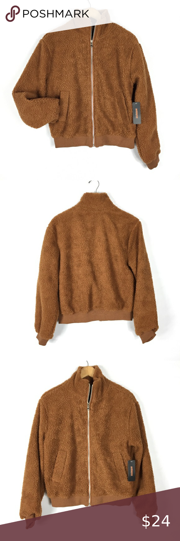 Nwt Ambiance Brown Teddy Bomber Jacket Bomber Jacket Jackets Clothes Design [ 1740 x 580 Pixel ]