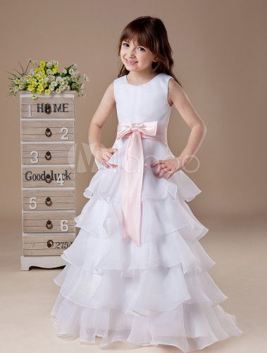 2d81d1df199 White Flower Girl Dress Boho Tiered Sleeveless Sash Bow Satin Kids Maxi  Dresses