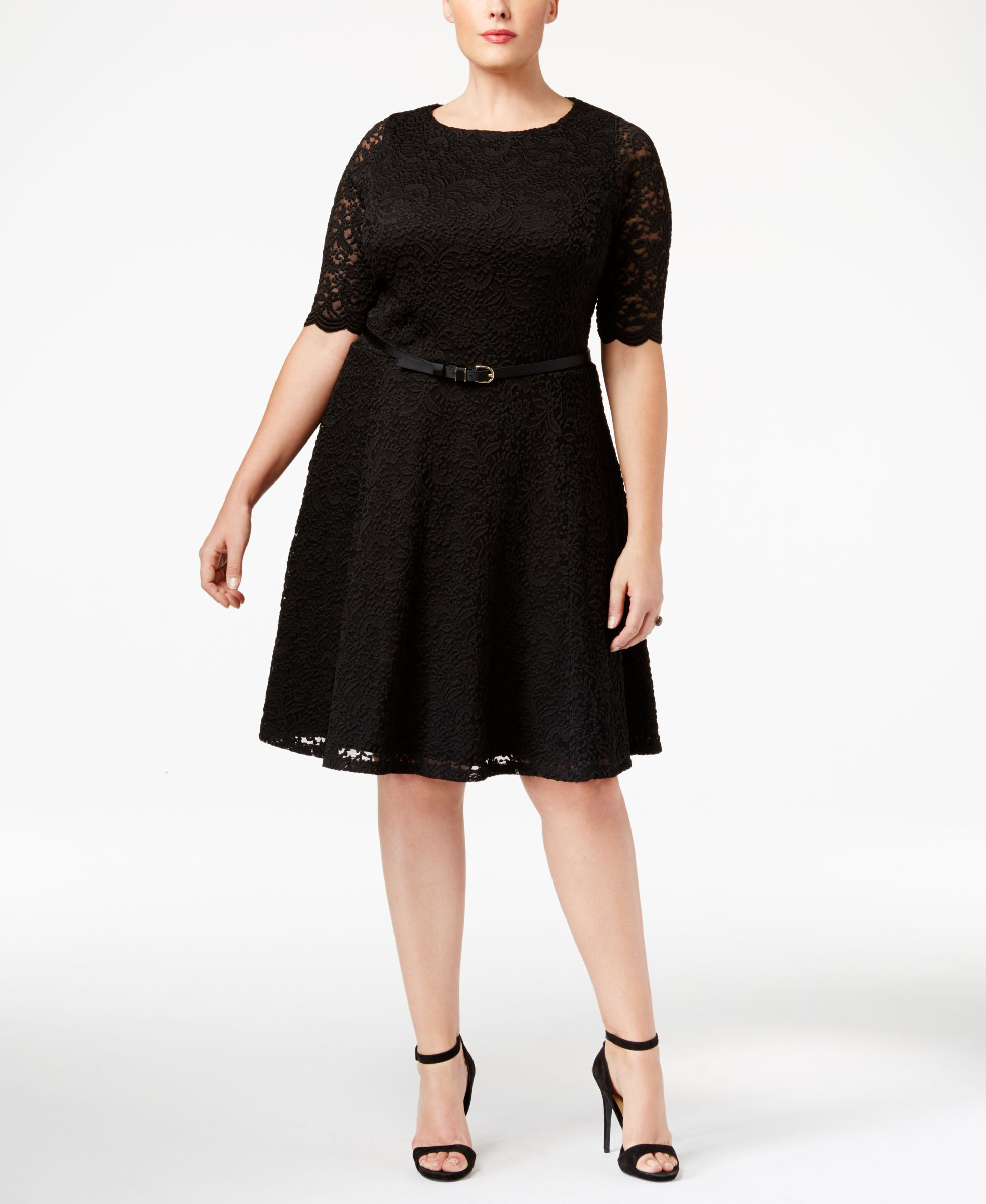 af9a19345d0b0 Charter Club Plus Size Belted Lace Fit & Flare Dress, Only at Macy's ...