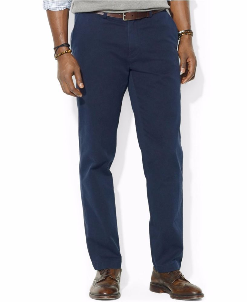 limpid in sight affordable price timeless design POLO Ralph LAUREN Blue CHINOS 39 32 Flat FRONT Mens SIZE ...