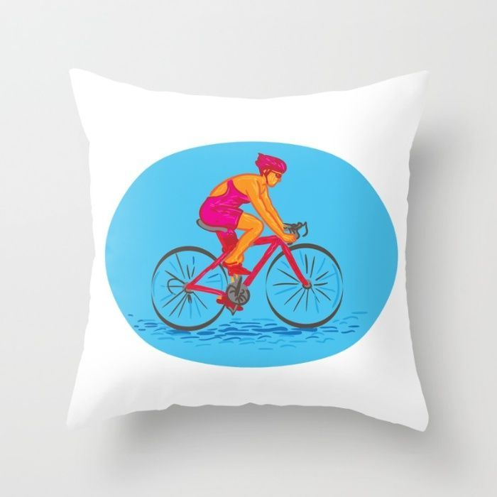 Female Cyclist Riding Bike Drawing Throw Pillow. Drawing sketch style illustrati...