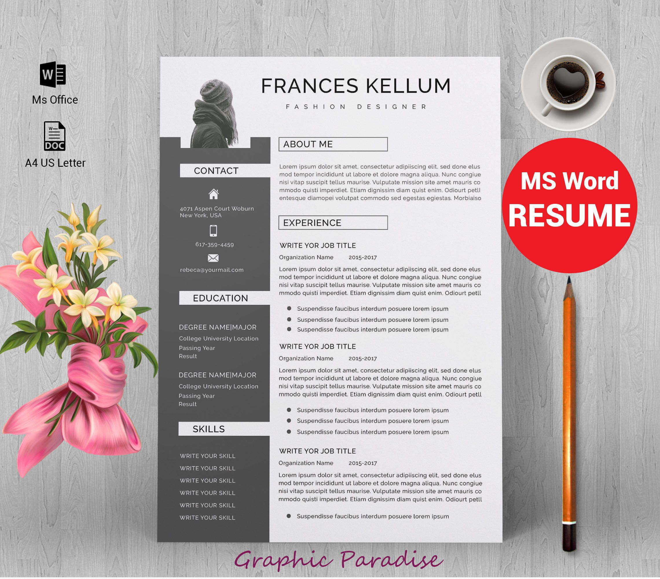 Resume Template Word Professional Resume Template Instant Download