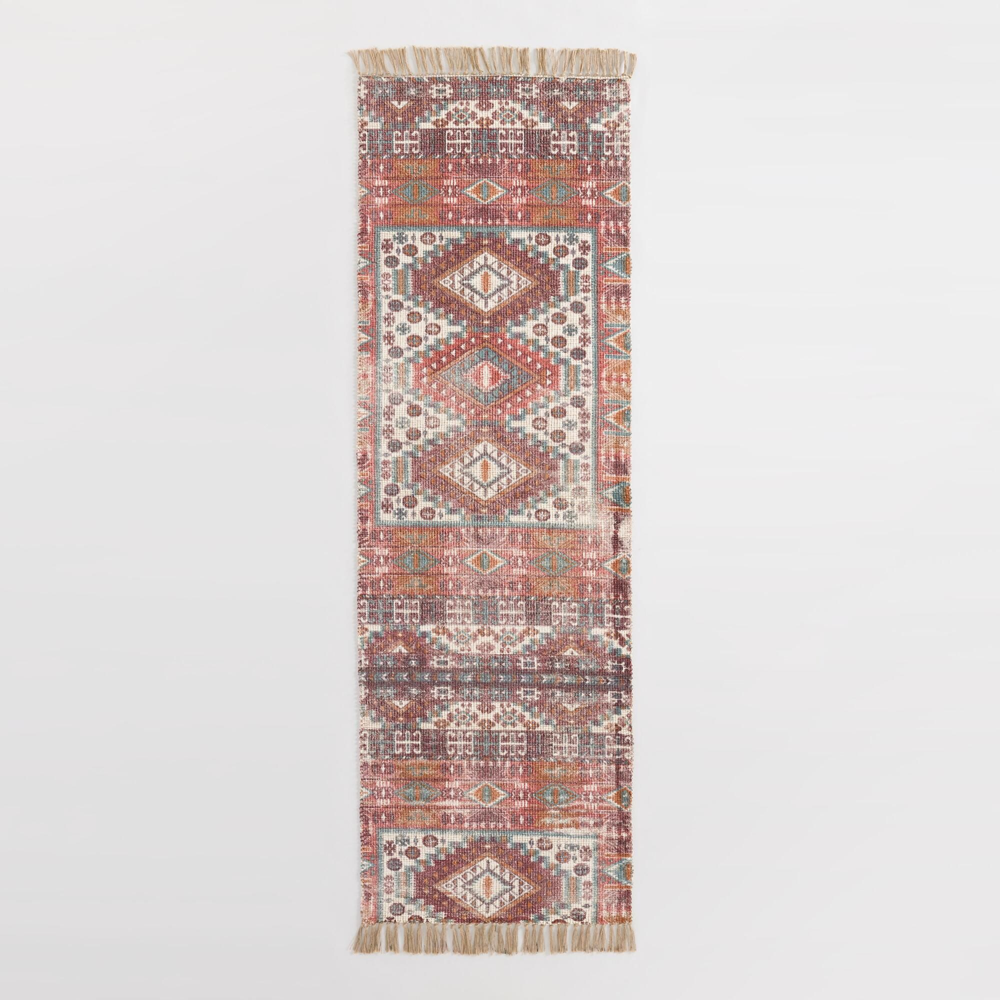 Green Persian Style Cotton And Jute Mesa Floor Runner Multi By