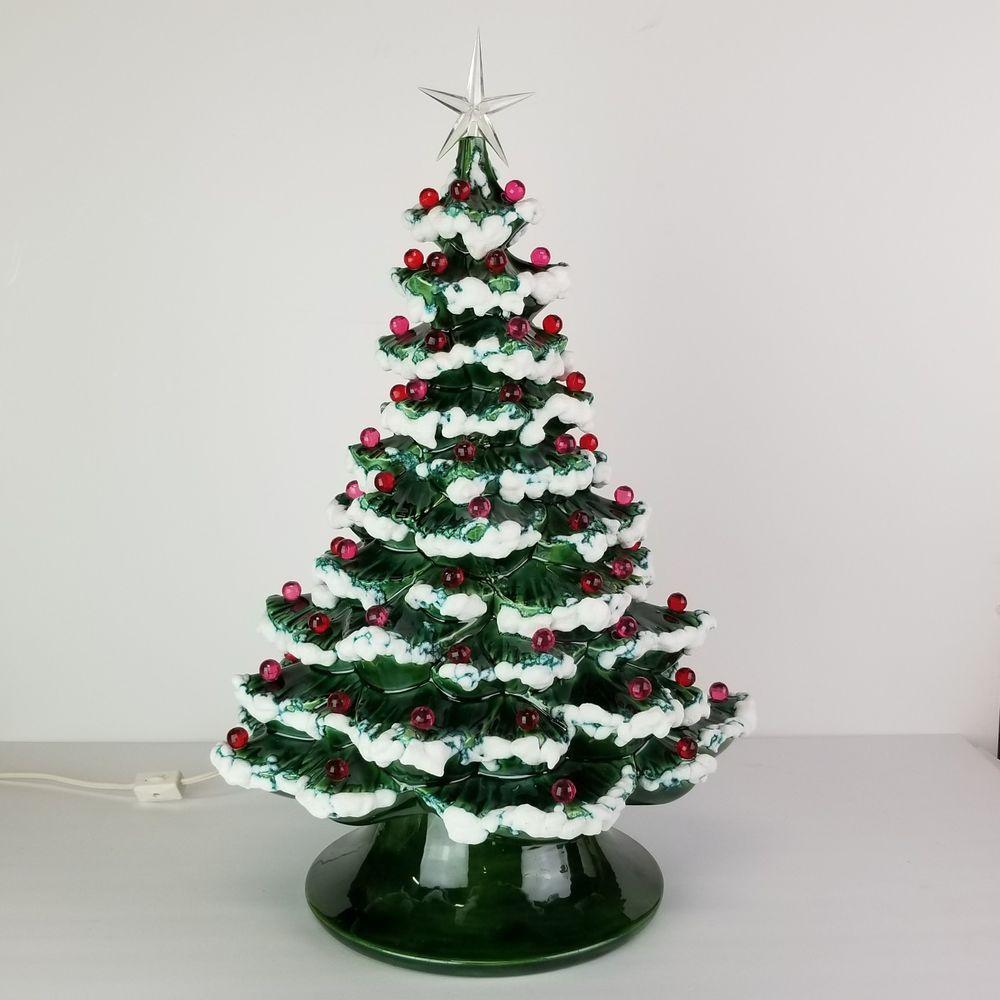 Vintage Ceramic Christmas Tree Lit Lighted Nightlight Lava Flocked