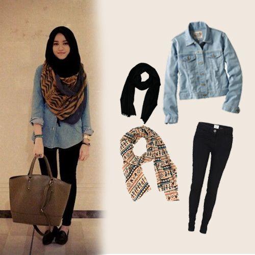 Casual Hijab Style Denim Jacket Scarf Hijab Street Hijab