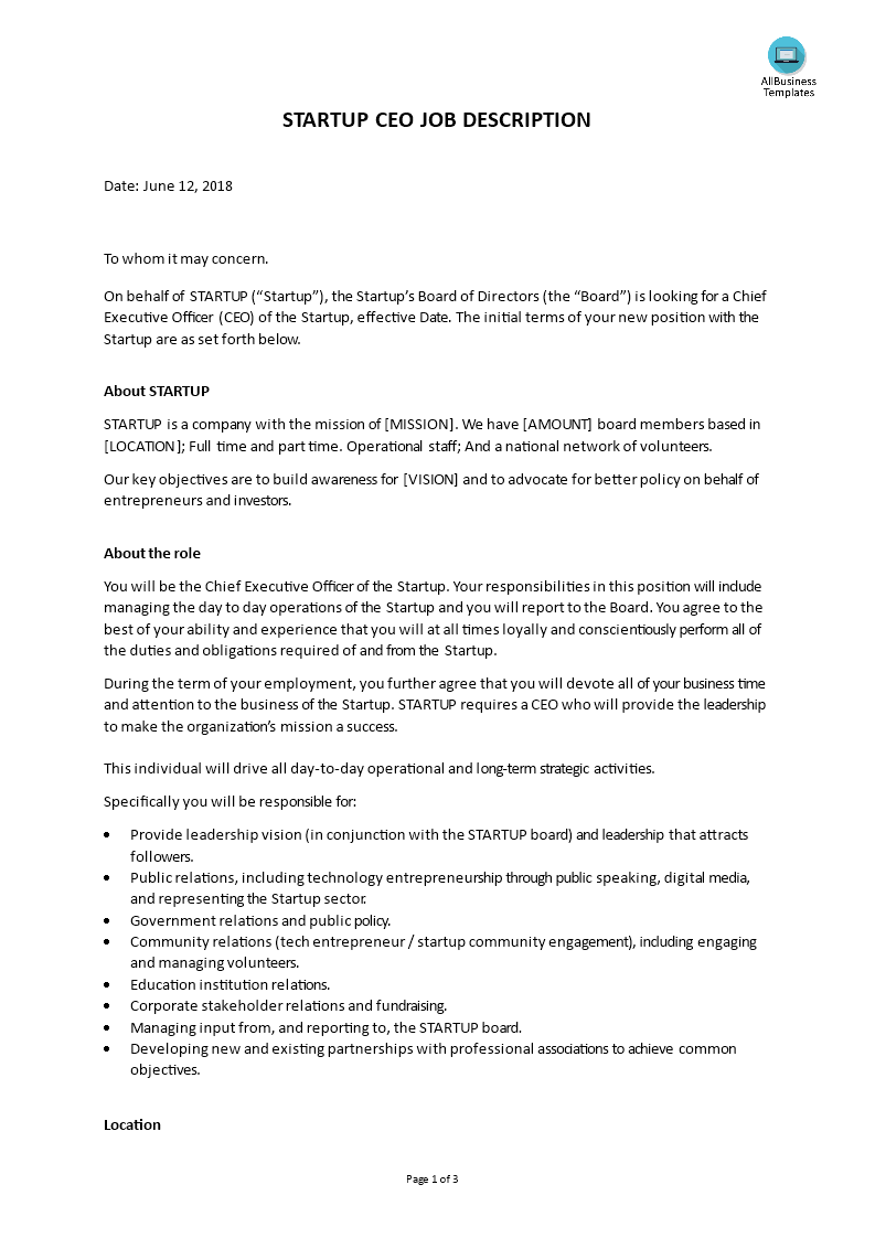 Startup Ceo Job Description Are You Looking For A Chief Executive Officer Job Description For A S Job Description Template Job Description Board Of Directors