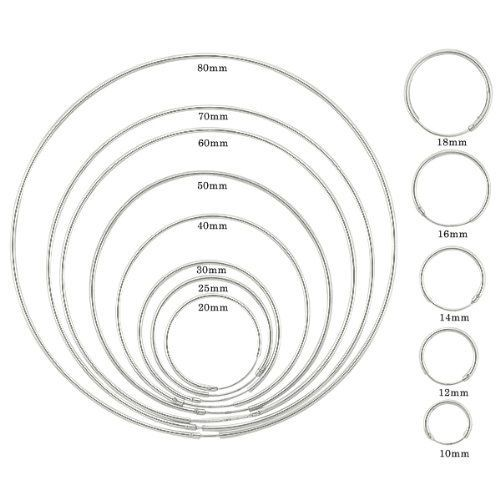 Genuine 925 Sterling Silver 2mm Large Plain Hoops In Different Sizes With Thread