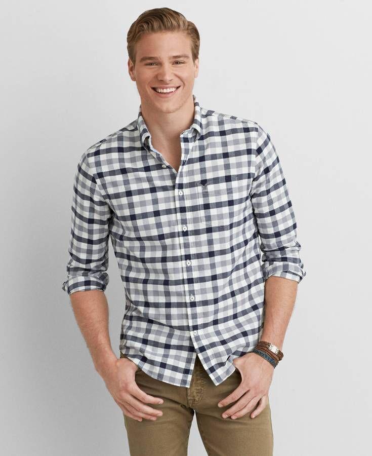 American eagle oxford plaid button down shirt men 39 s grey for Mens grey button down dress shirt