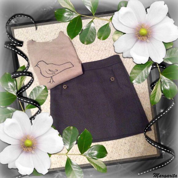 "Grey Loft skirt Grey Loft skirt, front pockets, size 4 petite, 17"" from waist to hem, fully lined. LOFT Skirts"