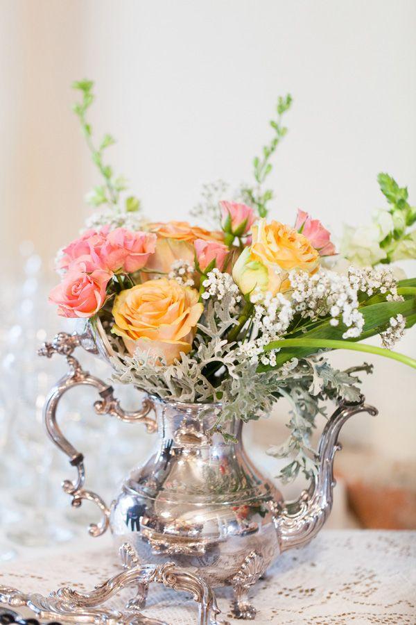 vintage teapot flower decor Wedding at The