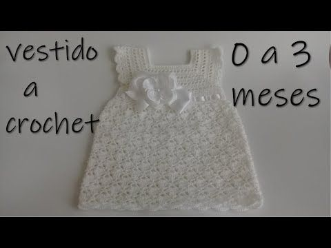 vestido tejido a crochet para bebe -0 a 3 meses