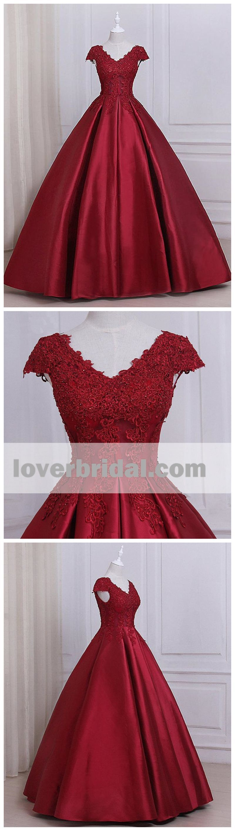 See through cap sleeves red lace a line long evening prom dresses