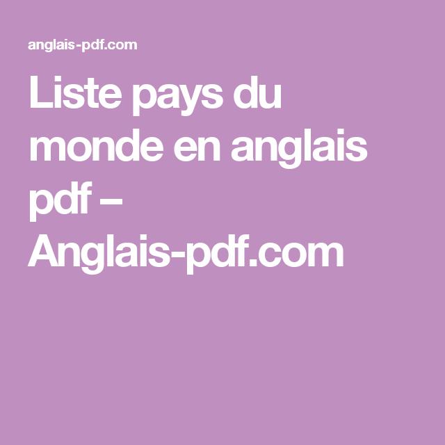 Liste Pays Du Monde En Anglais Pdf Anglais Pdf Com Langue Pays