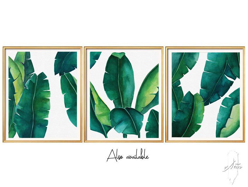 Tropical Leaves Set, Banana Leaf, Set of 3 Wall Art, Set ...