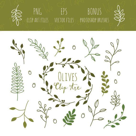 Olive Branches Clip Art Eps And Bonus Photoshop Brushes Etsy In 2021 Olive Branch Clip Art Photoshop Brush Set