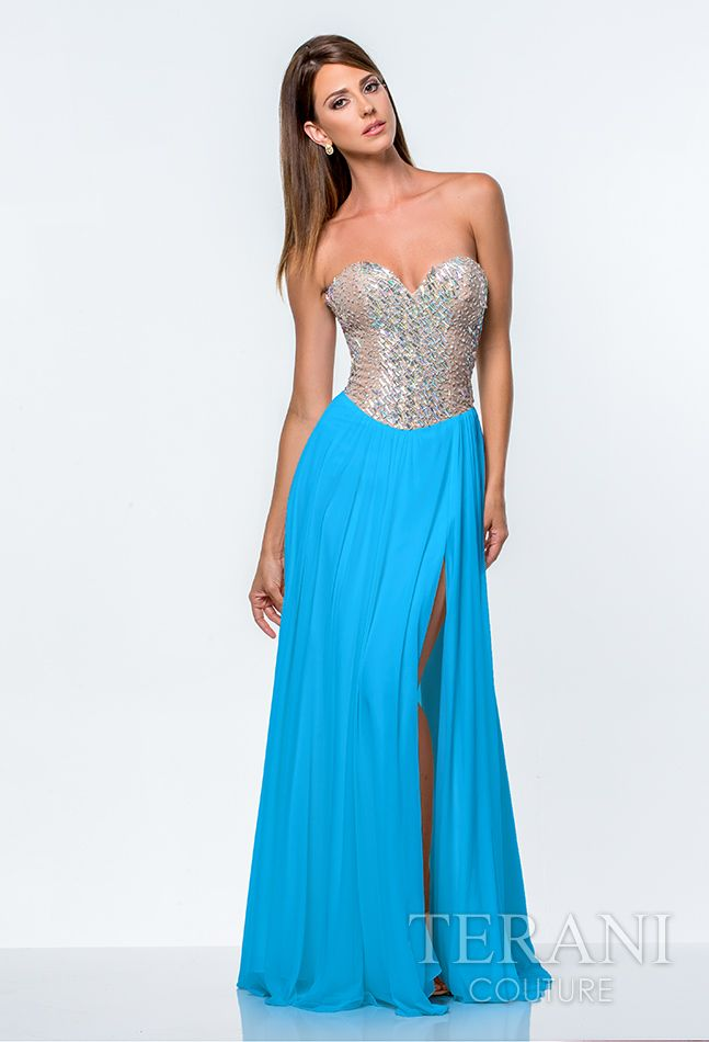 Terani Coral Strapless Chiffon Prom Dress