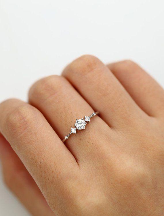 Moissanite Verlobungsring Weißgold Vintage Diamond Ehering Set zierliche antike Bridal halbe …