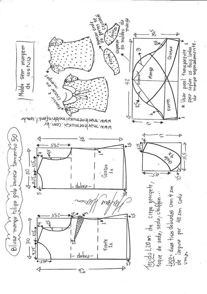 Blusa manga tulipa e gola boneca – DIY – molde, corte e costura ...