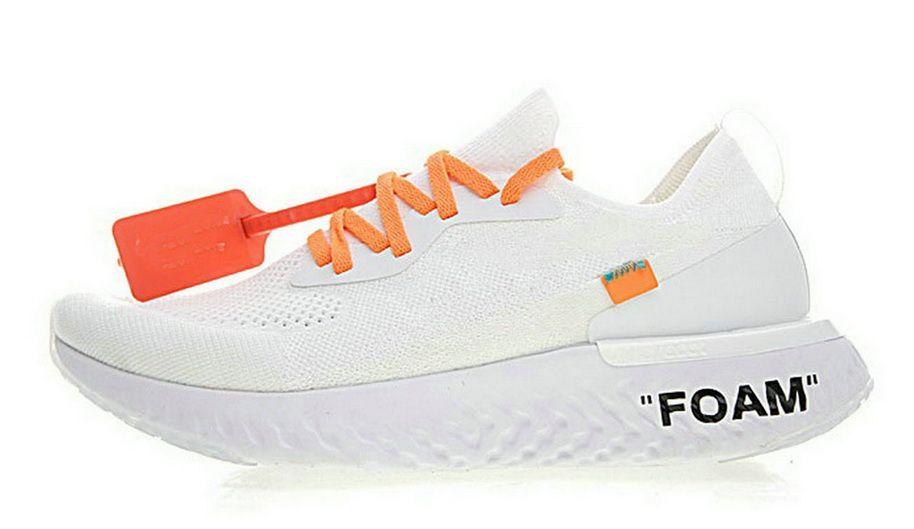 05fbd3255329b Off White X Nike Epic React Flyknit White Orange discount shoe bar Shoe