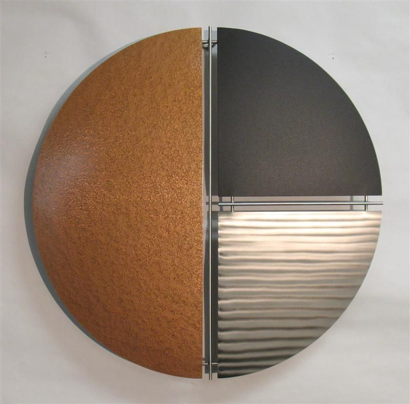 Modern metal wall sculpture - copper, stainless, and black ...