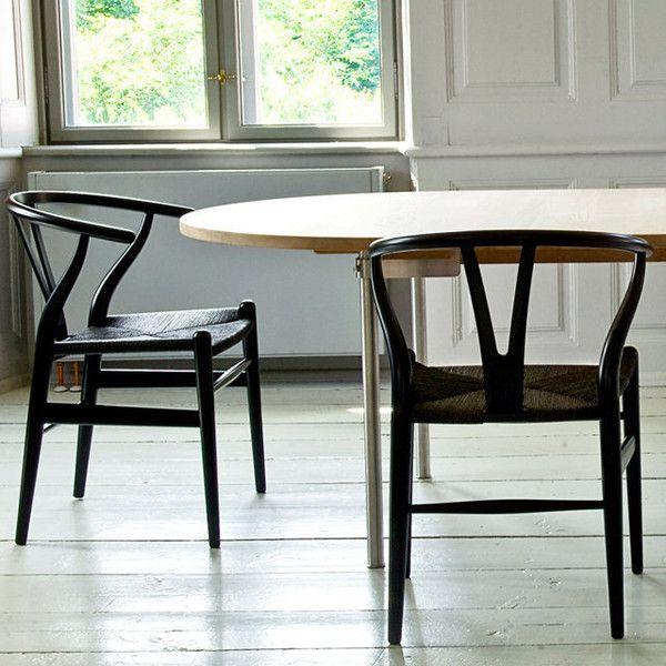 Unique black seat wishbone for Wishbone chair table